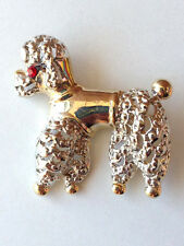 Dog Brooch French Poodle Pin Costume Pet Jewelry Silver & Gold Plated Crystal