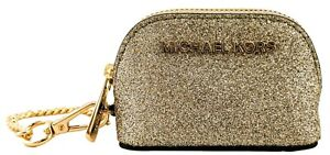 Michael Kors Coin Purse / Bag Charm Pale Gold Glitter Canvas Small Giftables