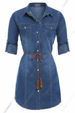 Denim Casual Dresses for Women with Belt