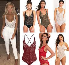 Womens Ladies Strappy Lace Detail Sleeveless Leotard Bodysuit Top Size UK 6-12