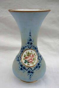 French Blue Opaline Baluster Vase Hand Painted Roses Medallion 19th C