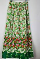 MALBE VINTAGE Maxi Skirt Lined Off White Green Red Floral Print 1960s Sz 7-8 EUC
