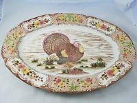"Large Vintage Thanksgiving Turkey Transferware Ironstone Serving Platter 20"""
