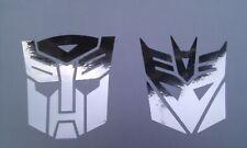 Transformers decals stickers chrome pair X 2 Autobot & Decepicon