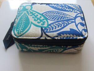 Vera Bradley Travel Pill Case- SANTIAGO- 8 slots -floral blue green beige