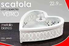 SCATOLA CUORE IN METALLO E COPERCHIO IN VETRO COLORE BIANCO 22X9 CM UMA-669422