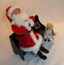 New ListingByers' Choice 1998 Christmas Santa Claus Suit Sitting on Black Bench Little Girl