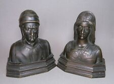 Vintage Bronze Dante and Beatrice Book Ends