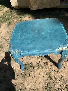 Vintage Handpainted All Wood Side Table With Beautiful Wood Edging