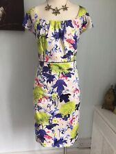 COAST FLORAL DRESS SIZE 18 BLUE LIME RRP £85 (J19)