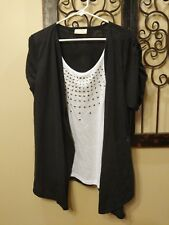 Bobbie Brooks Black White 2x Plus Sized Top 22/24W Shirt Undershirt Built-In