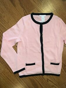 Janie and Jack NWT Sz 10 La Rose Pink Black Sweater Cardigan