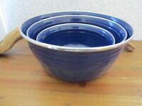 Rare VTG  Fiesta Ware 3 Cobalt Blue Metal Enamel Nesting Mixing Serving Bowls