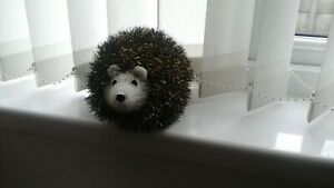 new hand knitted brown sparkly hedgehog