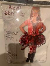 Girls Sassy Devil Child Costume Red Dress Leggings Horns Demon Tutu S M L