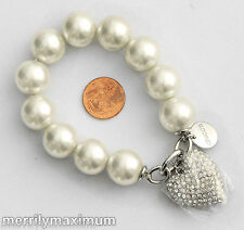 Chico's Signed Bracelet Silver Tone Crystal Pave Pillow Heart Charm Pearl NWOT