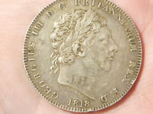 1818 George III Crown LIX Silver Coin Engraved JH on Neck Love Token a/f #H16