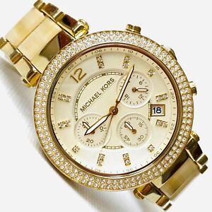 "Michael Kors Parker 6"" MAX! Womens Ivory Acrylic Gold Chronograph Watch MK-5632"