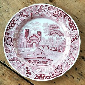 VTG Castle SPODE Archive Collection CRANBERRY RED PINK TRANSFERWARE Dinner Plate