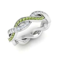 1.08 Carat Certified Real Peridot Diamonds Band Solid 14K White Gold Ring