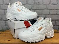 FILA LADIES DISRUPTOR III WHITE BRONZE LEATHER TRAINERS RRP £85 VARIOUS SIZES T