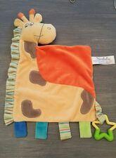 Doudou Kimbaloo plat girafe jaune orange étoile