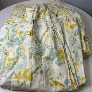 vintage custom pleated curtain drapes pair blue green tree floral bird