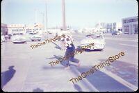 Mobil Gas Economy Run Street Scene Shell Station 1950s 35mm Slide Race Oil Car