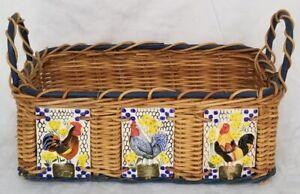BEAUTIFUL Decorative Rectangle BASKET Rooster Ceramic Tiles