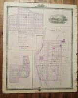 NICE MAP - PLAN OF MORENGO/IOWA CITY/LECLAIRE IOWA - Andreas Atlas Co. 1875
