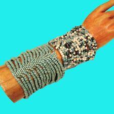 Set of 2 Aqua Blue Multi Strand Handmade Cleo Stretch Seed Bead Cuff Bracelets