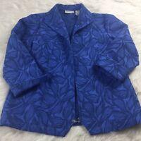 Drapers & Damons Womens Blazer Size M Jacket 3/4 Sleeve Blue Zipup Cuffed SW1