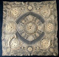 Exceptional Vintage Normandy large lace square Fond de Bonet collector's quality