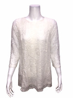 Joan Rivers Women's Stylish Lace Tunic with 3/4 Sleeves Top Ivory 2X Plus Size