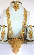Sale...Indian Gold Plated Ginni Rani Haar 11'' Long Necklace Earrings Tikka Set/