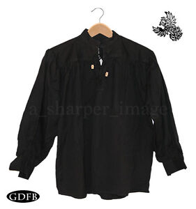Celtic Shirt Black Laced Neck + Wood Toggles, Billow Sleeve SCA Pirate Ren Fair
