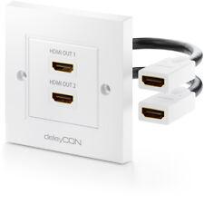 deleyCON HDMI Dose Wanddose Einbaudose 2x HDMI Buchse HDMI Anschlussdose 4K UHD