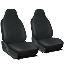 Faux Leather Car Seat Covers Black Solid 2PC Bucket Set w/Integrated Head Rests