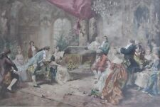Antique Hand-Colored Lithograph Rococo Parlor Scene by Vicente Garcia de Paredes