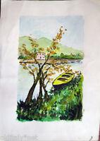 ✅Acquerello '900 su carta Watercolor - Fiume con barca e casa - (163)
