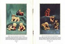 NETSUKE 1936 JAPANESE MINIATURE SCULPTURE COLOR PICTORIAL TUSK & HINOKI WOOD