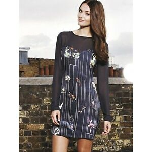 Rare Ted Baker Circus Print Dress in Navy