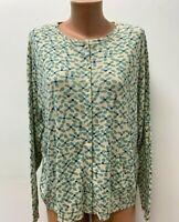 GUDRUN SJODEN size XL Jumper Cardigan Blouse Top Ivory Blue Floral Jersey