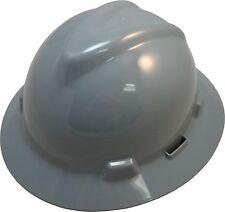 "MSA V-Gard ""GRAY"" Full Brim Safety Hard Hat ""NEW"" One Touch Suspension FAST SHIP"