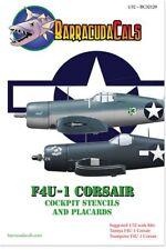 Barracuda DECALS 1/32 Terminal F4U-1 Corsair cockpit POCHOIRS & Placards # 32129