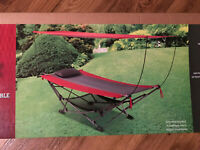 HAMMOCK Foldable With Removable Canopy -- Red and Black Color - Deluxe HAMMOCK