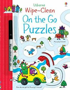 Usborne Wipe Clean On the Go Puzzles (Paperback with pen) FREE shipping $35