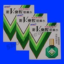3 Bottles of ROHTO EYE DROPS NEW V.ROHTO PLUS 13ml Each ( Total 39ml )