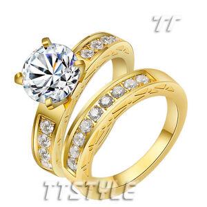 TT 14K GP Gold Tone Stainless Steel Engagement Wedding Band Ring Set