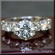 1.85 CT FOREVER ONE MOISSANITE ROUND SEMI ETERNITY ENGAGEMENT RING
